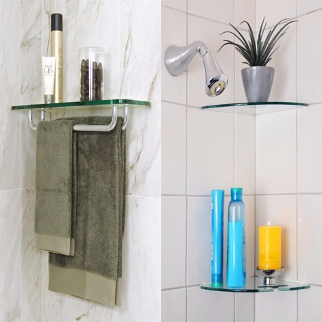 Glass bathroom shelves floating shelves for bathroom - Floating shelf ideas for bathroom ...